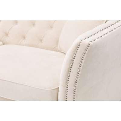 Sofa Chesterfield Modern Velvet Cream 3-Sitzer