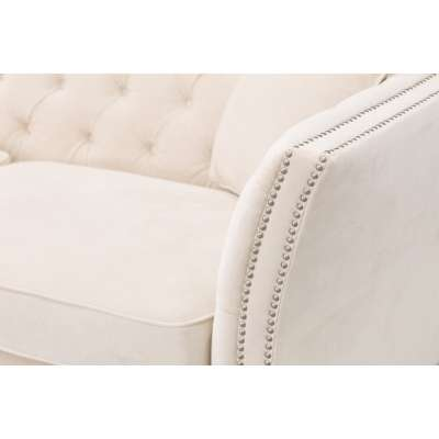 Sofa Chesterfield Modern Velvet Cream 3-os.