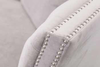 Sofa Chesterfield Modern Velvet Light Grey 3os.