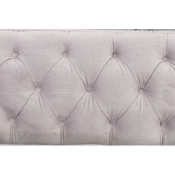 Sofa Chesterfield Modern Velvet Light Grey 3os. 225x87x82cm