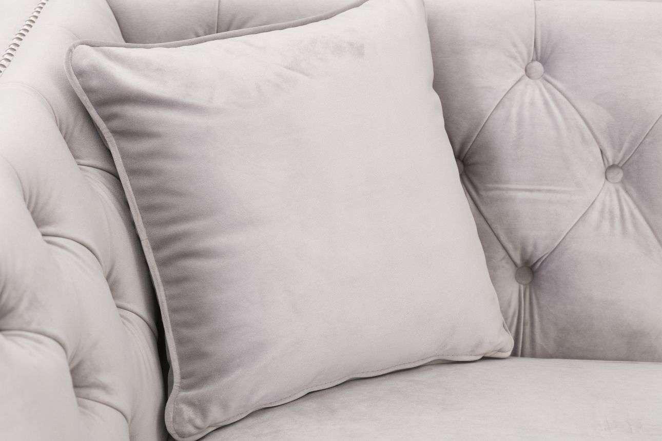 Sofa Chesterfield Modern Velvet Light Grey 3-os.