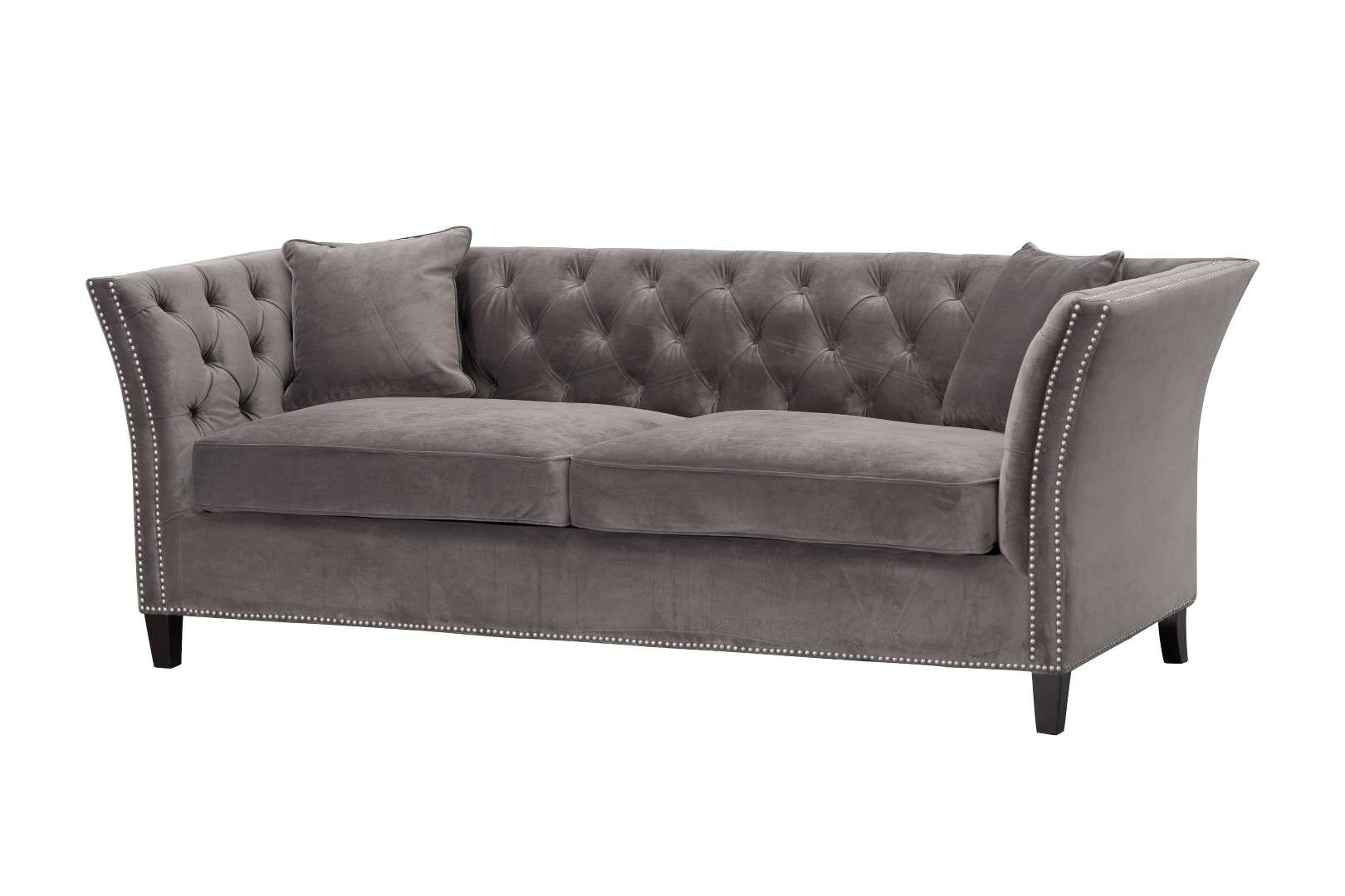 Sofa Chesterfield Modern Velvet Dark Grey 3-Sitzer, 225x87x82cm