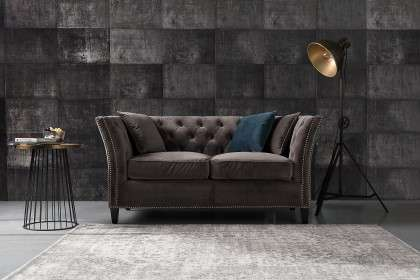 Sofa Chesterfield Modern Velvet Dark Grey 3-os.