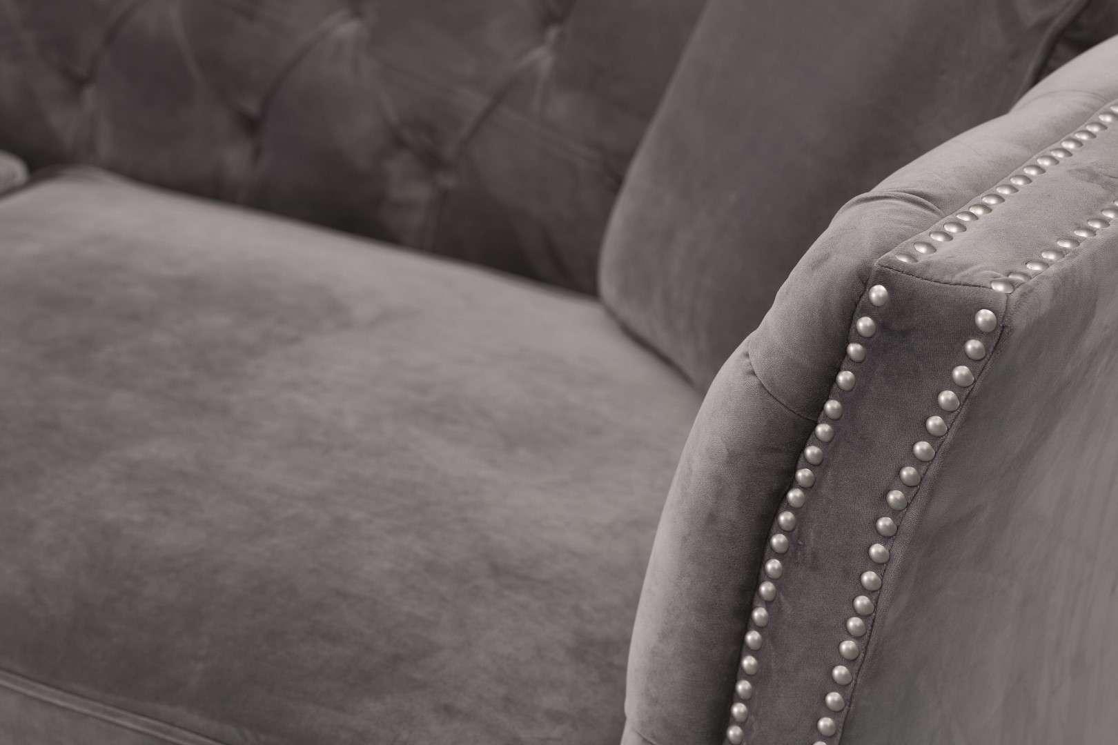 Sofa Chesterfield Modern Velvet Dark Grey 3-os.