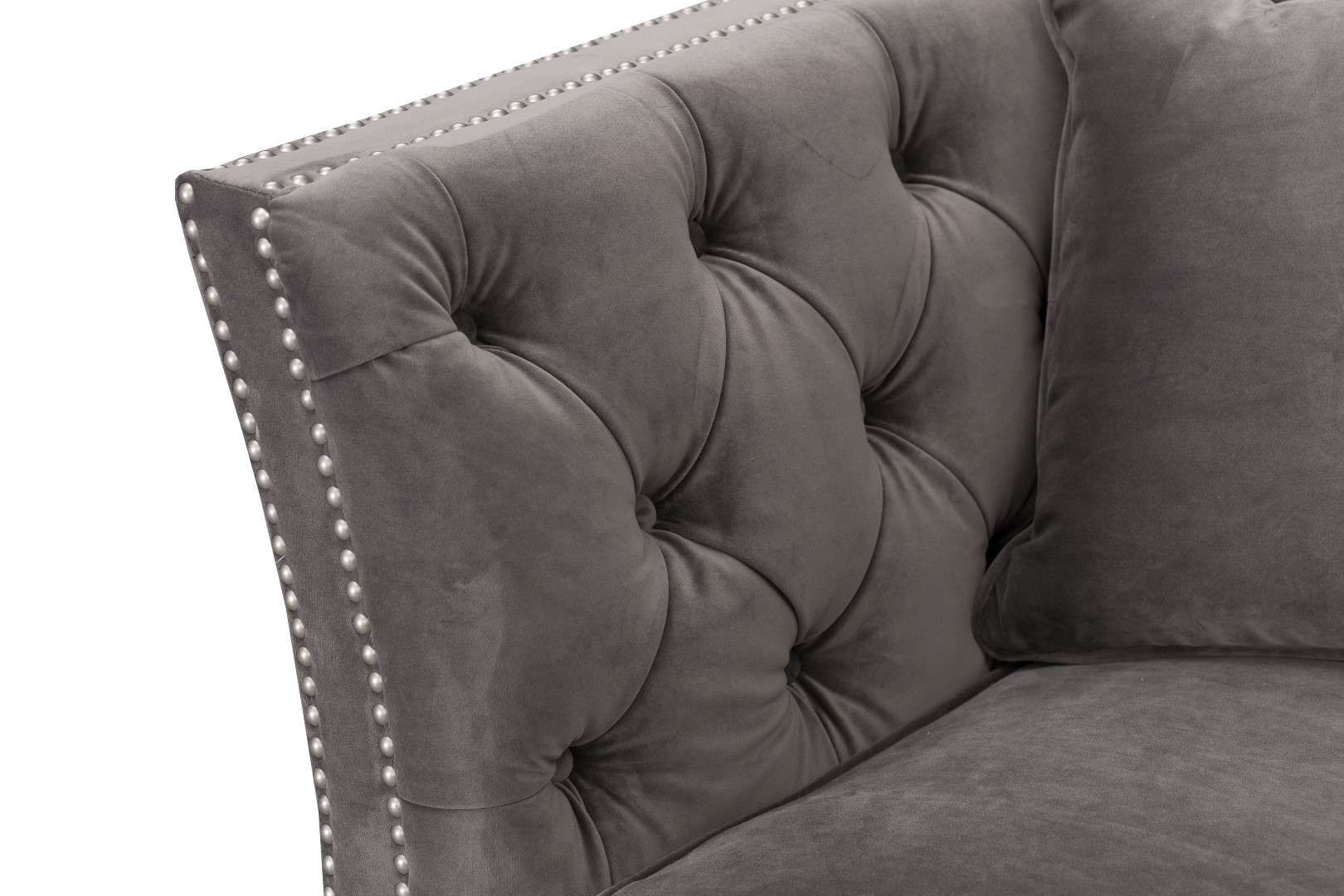 Sofa Chesterfield Modern Velvet Dark Grey 3os. 225x87x82cm