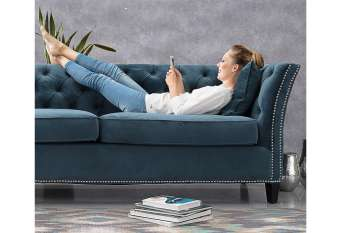 Sofa Chesterfield Modern Velvet Midnight 3-Sitzer