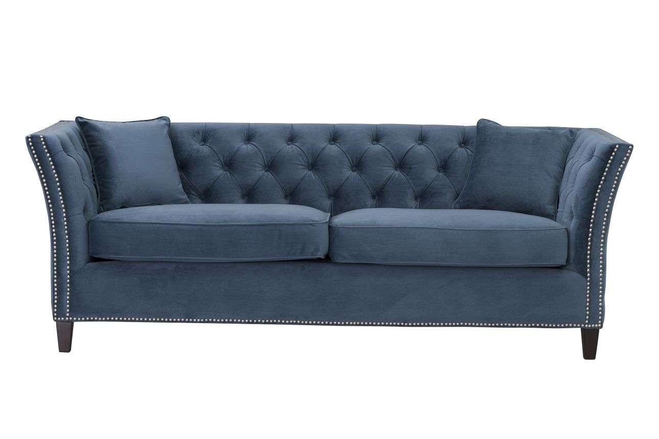 Sofa Chesterfield Modern Velvet Midnight 3-os.