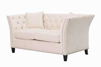 Sofa Chesterfield Modern Velvet Cream 2os.