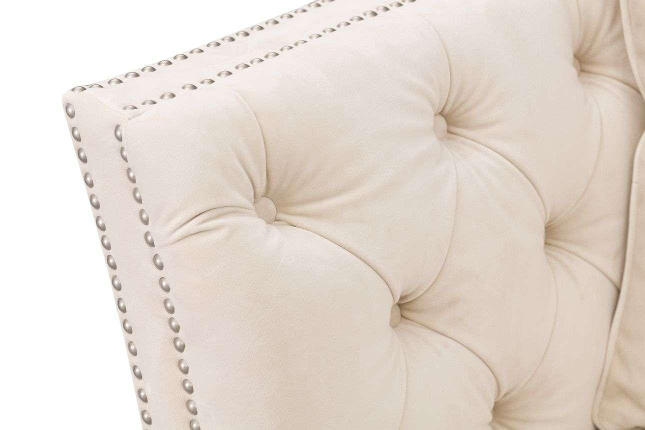 Sofa Chesterfield Modern Velvet Cream 2-os.