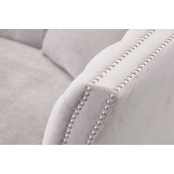 Sofa Chesterfield Modern Velvet Light Grey 2os.
