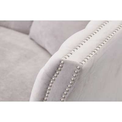 Sofa Chesterfield Modern Velvet Light Grey 2-os.