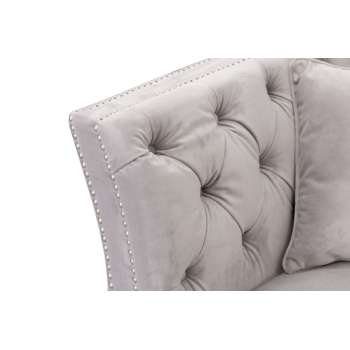 Sofa Chesterfield Modern Velvet Light Grey 2-Sizter
