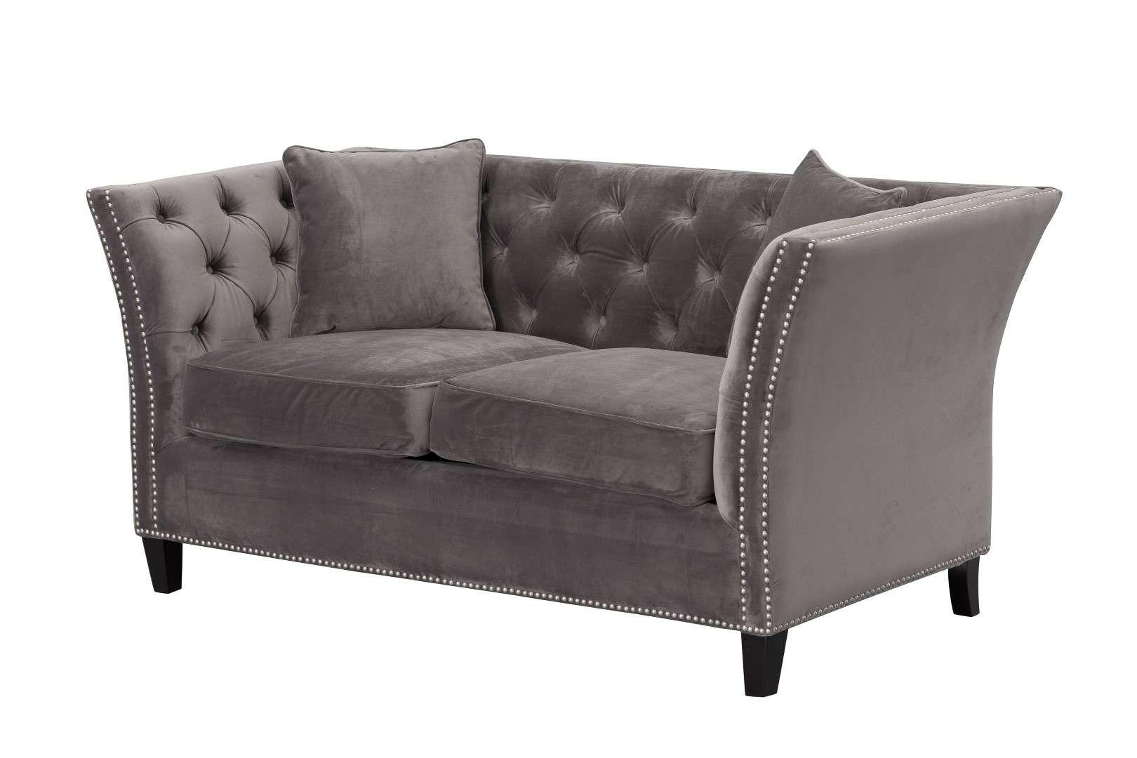 Sofa Chesterfield Modern Velvet Dark Grey 2-Sitzer