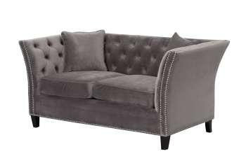 Sofa Chesterfield Modern Velvet Dark Grey 2os.