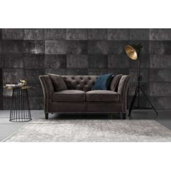 Sofa Chesterfield Modern Velvet Dark Grey 2-Sitzer