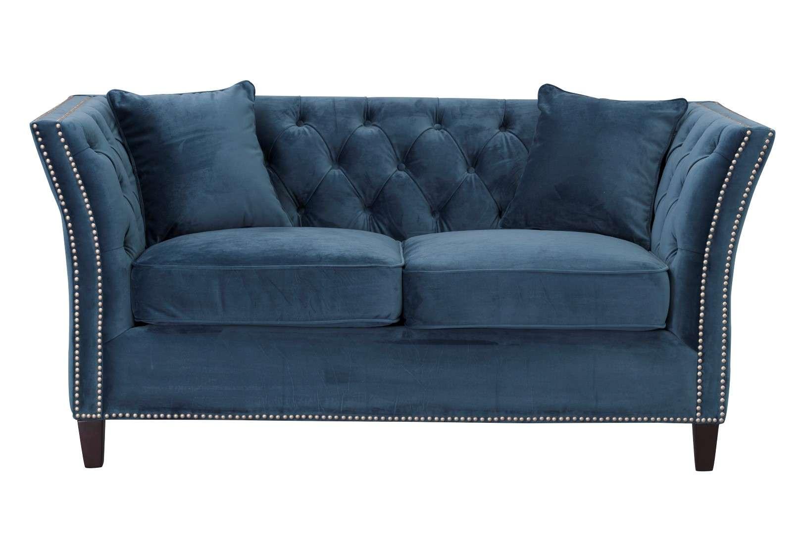Sofa Chesterfield Modern Velvet Midnight 2-Sitzer