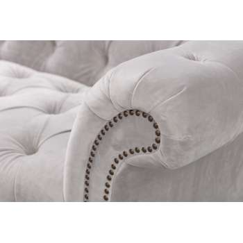 Sofa Chesterfield Glamour Velvet Light Grey 3-Sitzer