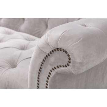 Sofa Chesterfield Glamour Velvet Light Grey 3os.  230x98x75cm