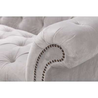 Sofa Chesterfield Glamour Velvet Light Grey 3-os.