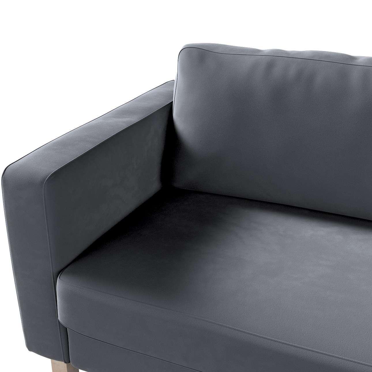Pokrowiec na sofę Karlstad 3-osobową nierozkładaną, krótki w kolekcji Velvet, tkanina: 704-12