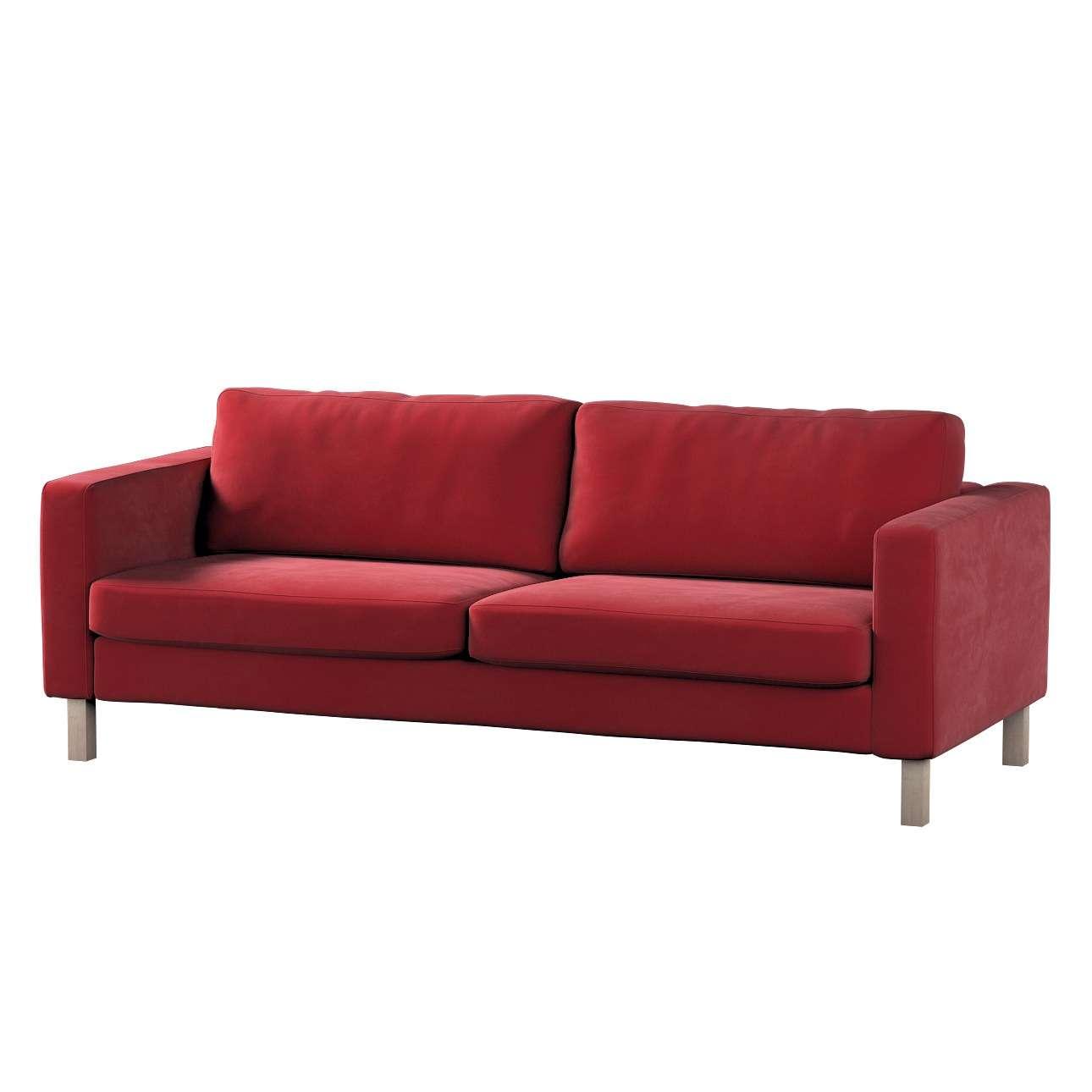 Pokrowiec na sofę Karlstad 3-osobową nierozkładaną, krótki w kolekcji Velvet, tkanina: 704-15