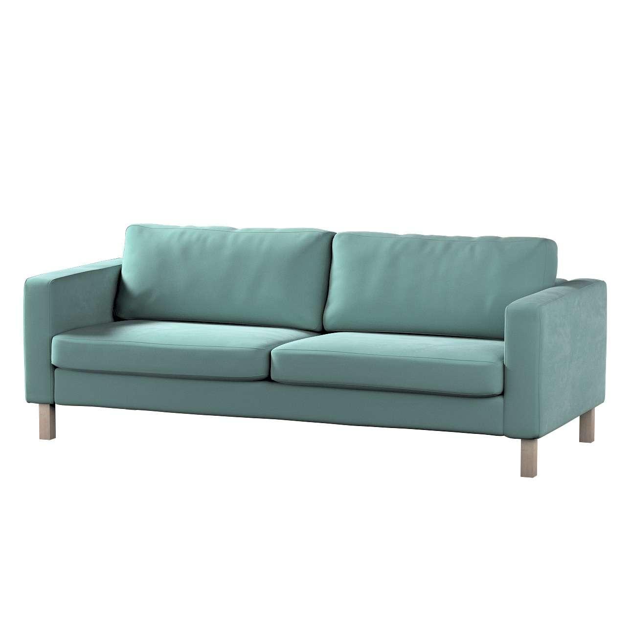Pokrowiec na sofę Karlstad 3-osobową nierozkładaną, krótki w kolekcji Velvet, tkanina: 704-18