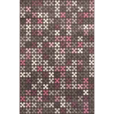 Modern Puzzle Charisma Rose & Frost Grey Area Rug 135x190cm Rugs and Runners - Dekoria.co.uk