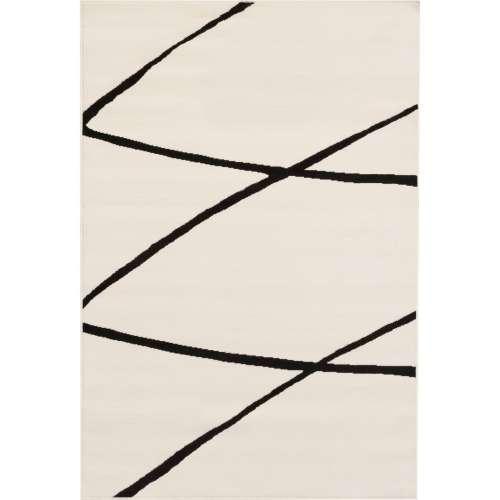 Modern Lines Cream & Black Area Rug 135x190cm