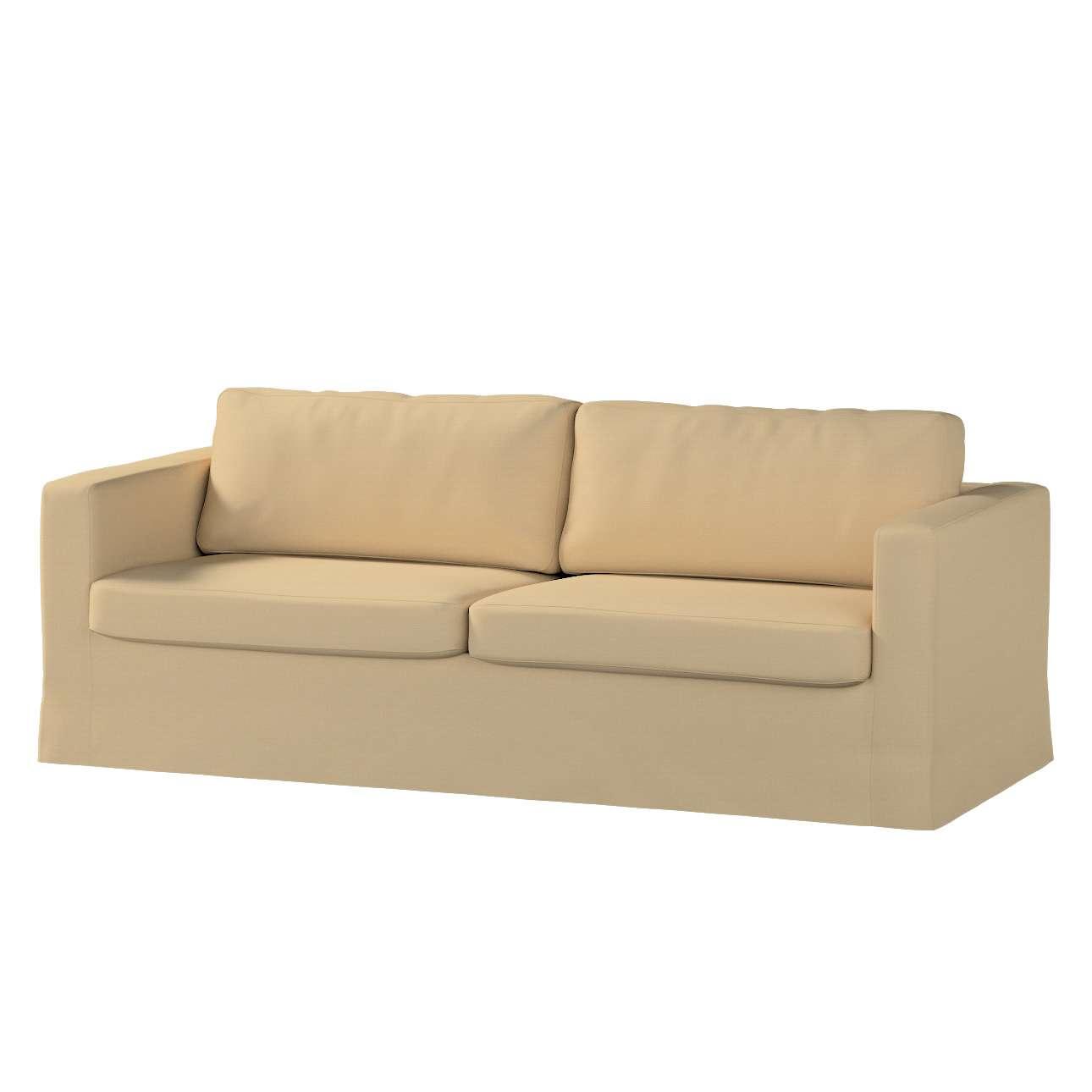 Pokrowiec na sofę Karlstad 3-osobową nierozkładaną, długi w kolekcji Cotton Panama, tkanina: 702-01