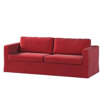 Pokrowiec na sofę Karlstad 3-osobową nierozkładaną, długi w kolekcji Velvet, tkanina: 704-15