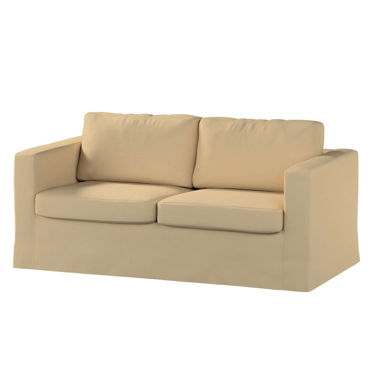 Floor length Karlstad 2-seater sofa cover in collection Panama Cotton, fabric: 702-01