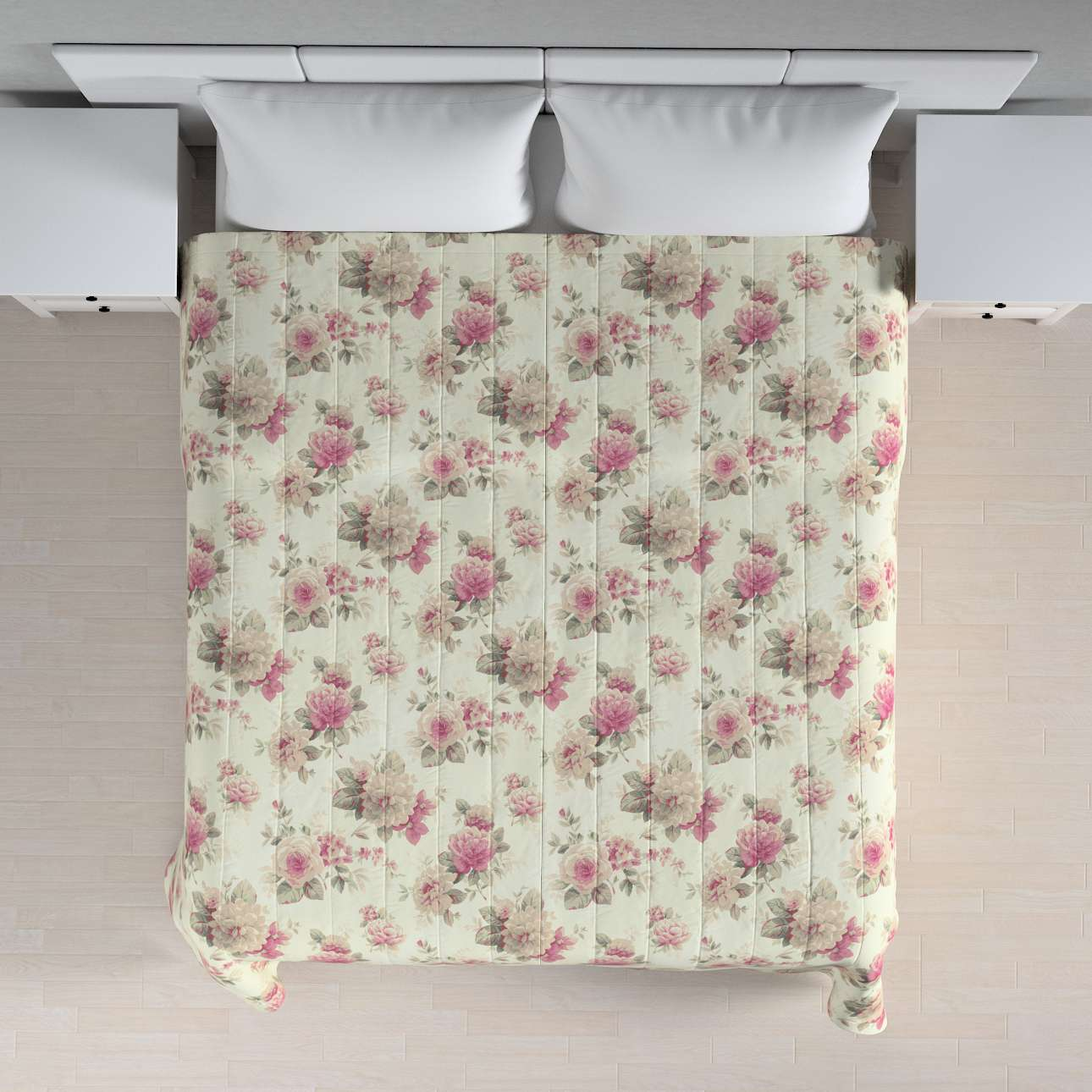 Sengetæppe quiltet<br/>10cm striber 260 × 210 cm fra kollektionen Mirella, Stof: 141-07