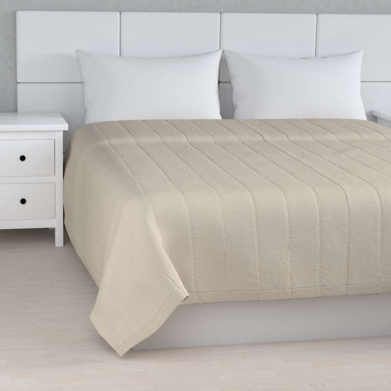 Stripe quilted throw in collection Linen, fabric: 392-05