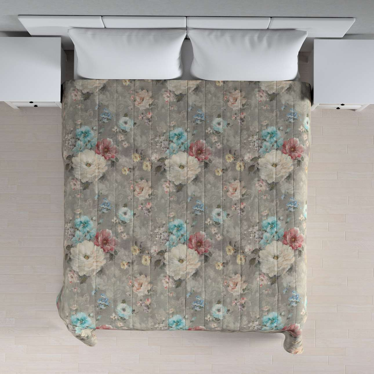 Sengetæppe quiltet<br/>10cm striber fra kollektionen Monet, Stof: 137-81