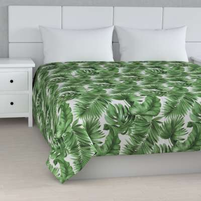 Stripe quilted throw 141-71 large palm leaves on white background Collection Tropical Island