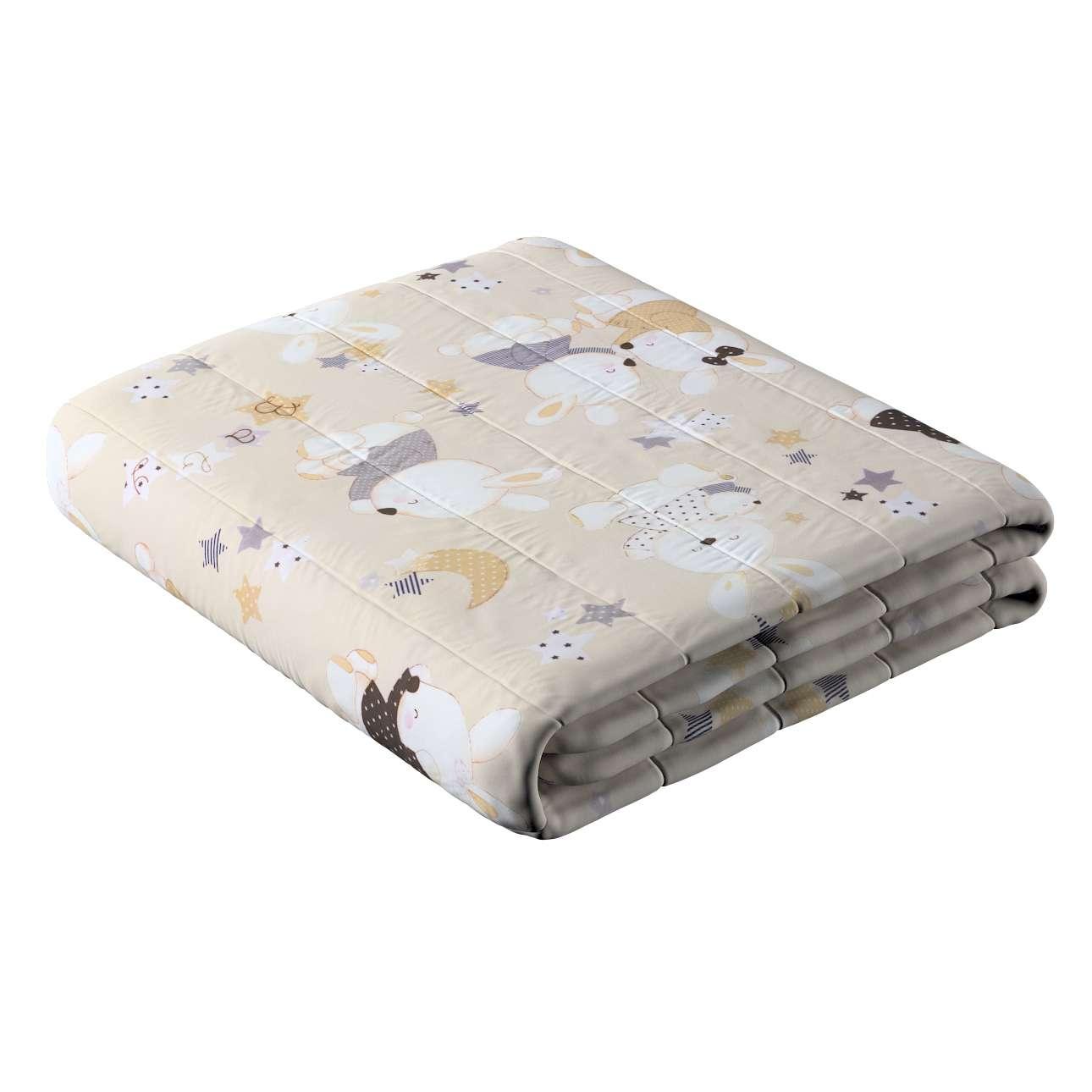 Sengetæppe quiltet<br/>10cm striber fra kollektionen Adventure, Stof: 141-85