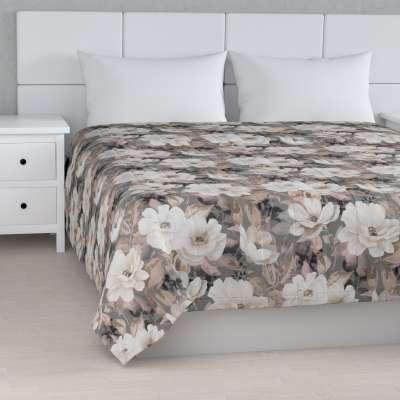 Prehoz  s pozdĺžným prešívaním 142-13 svetlé kvety na sivom podklade so svetlo ružovou a béžovou Kolekcia Gardenia