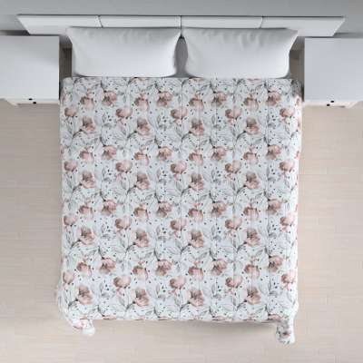 Stripe quilted throw 704-50 pink flowers on a cream background Collection Velvet