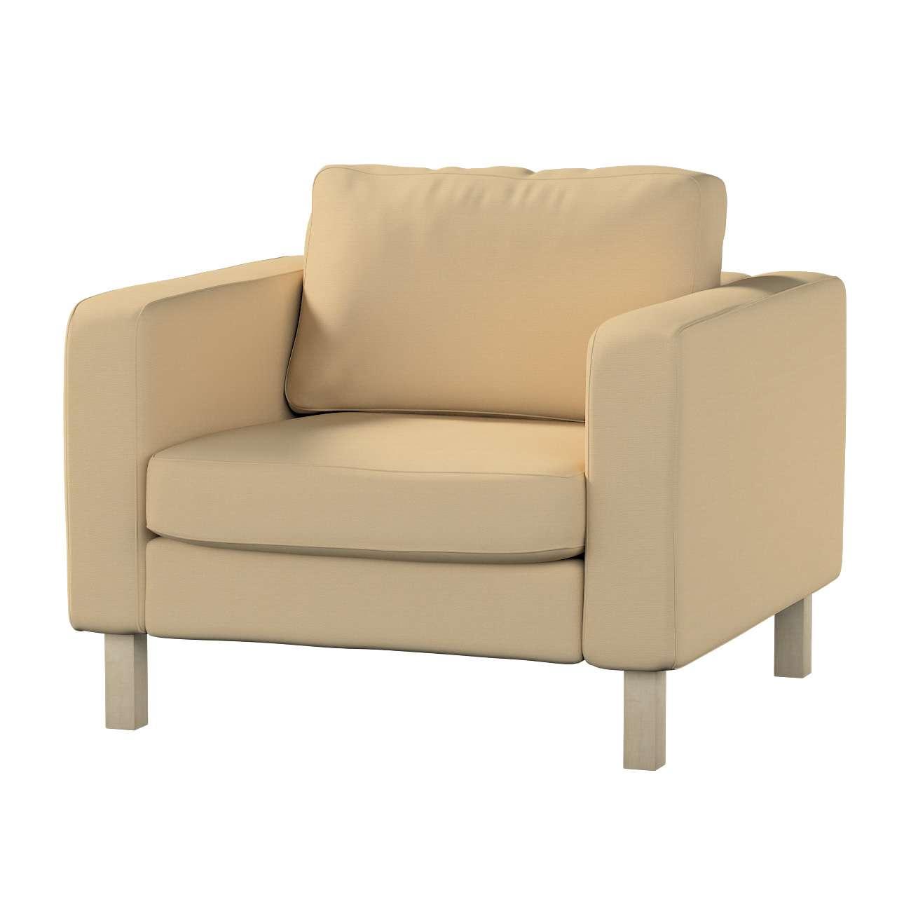 Pokrowiec na fotel Karlstad, krótki Fotel Karlstad w kolekcji Cotton Panama, tkanina: 702-01