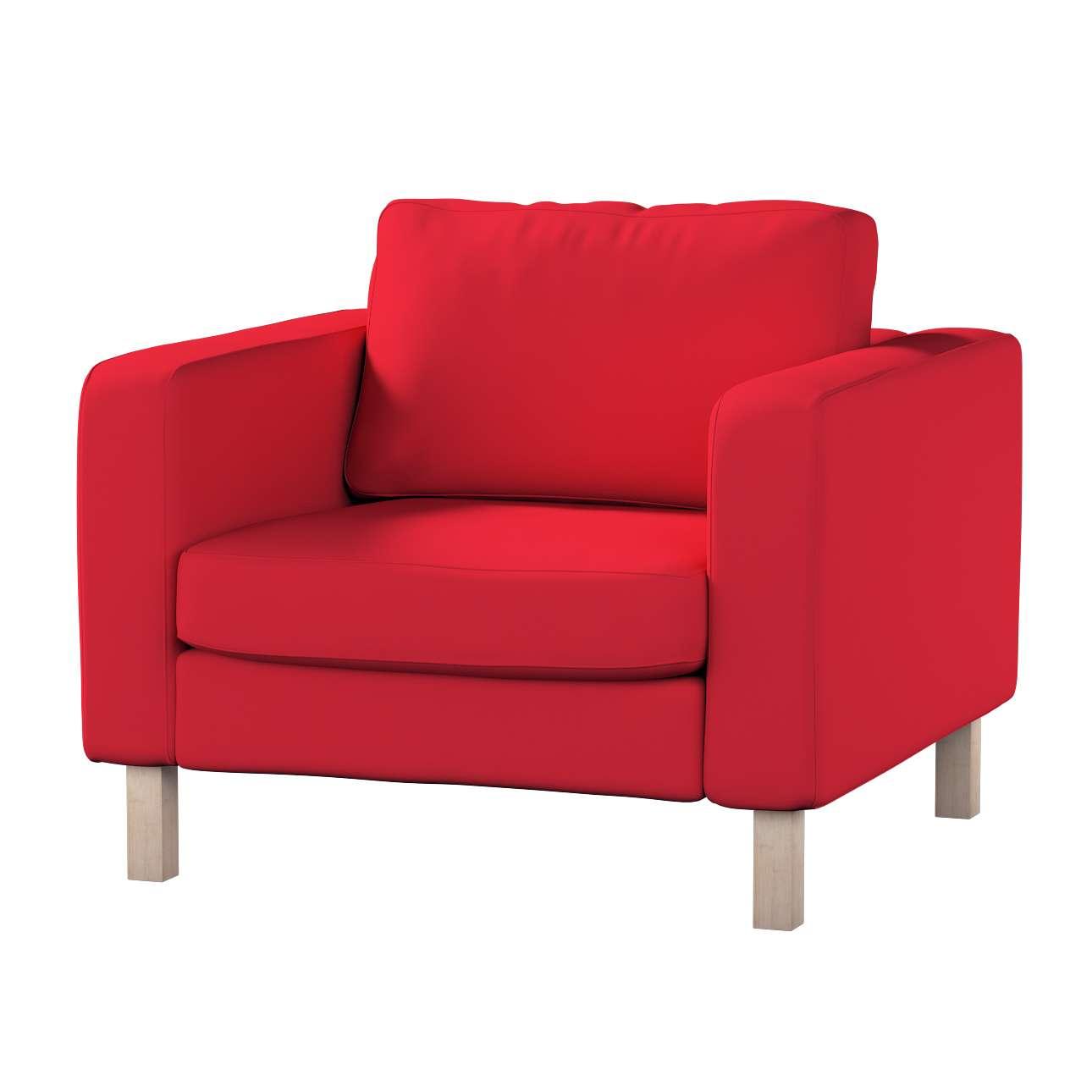 Pokrowiec na fotel Karlstad, krótki w kolekcji Cotton Panama, tkanina: 702-04