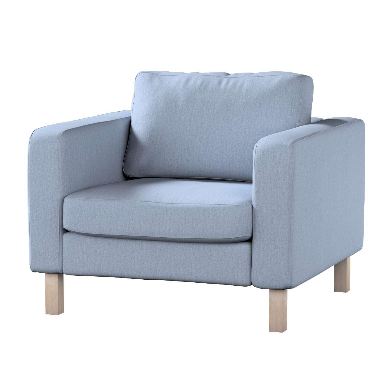 Pokrowiec na fotel Karlstad, krótki w kolekcji Chenille, tkanina: 702-13