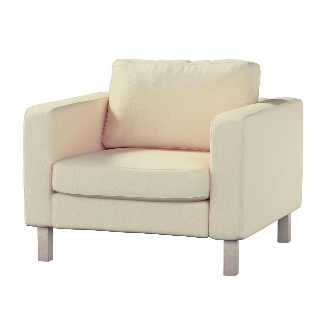 Pokrowiec na fotel Karlstad, krótki w kolekcji Chenille, tkanina: 702-22
