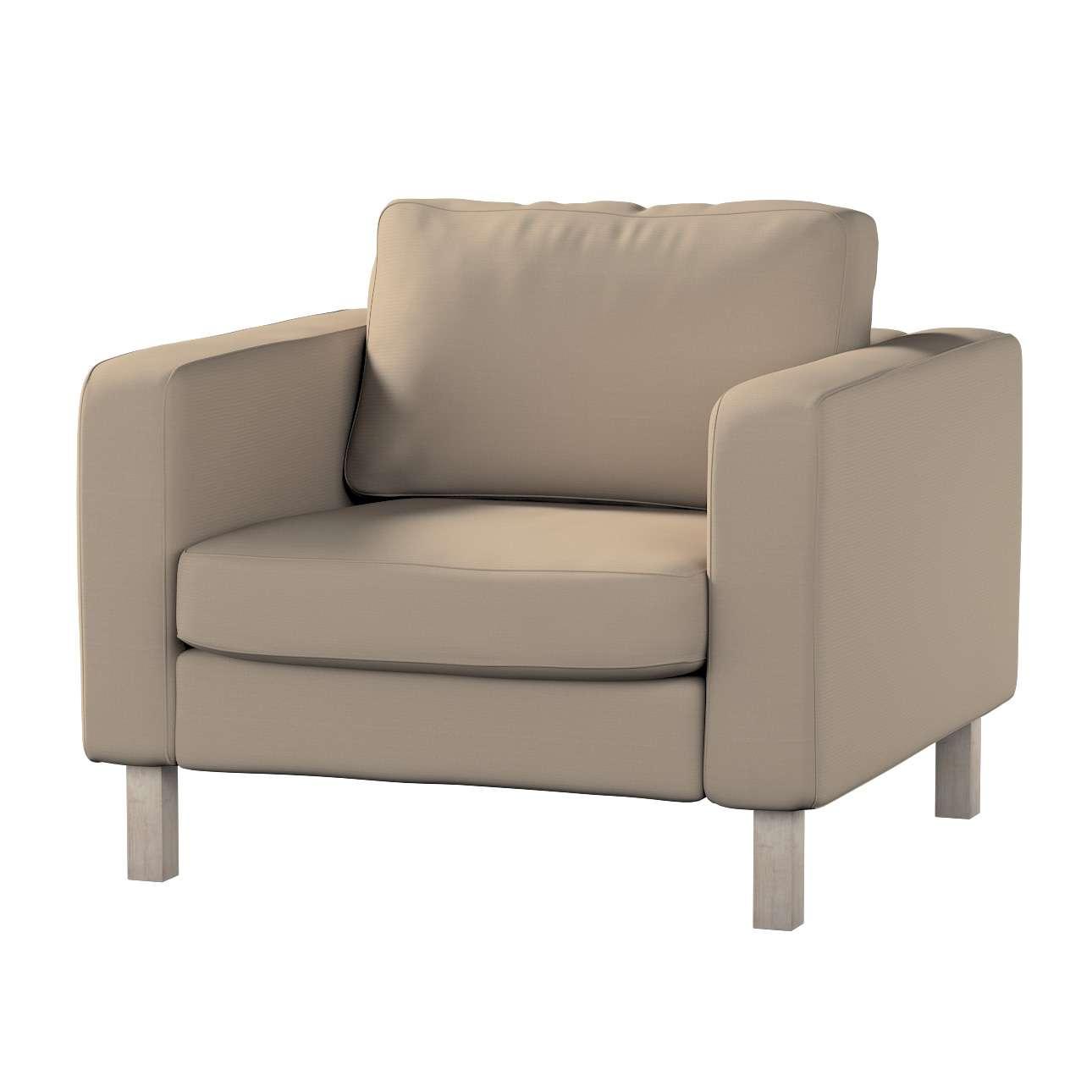 Pokrowiec na fotel Karlstad, krótki w kolekcji Cotton Panama, tkanina: 702-28