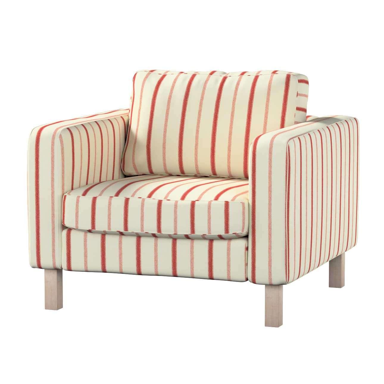 Pokrowiec na fotel Karlstad, krótki Fotel Karlstad w kolekcji Avinon, tkanina: 129-15