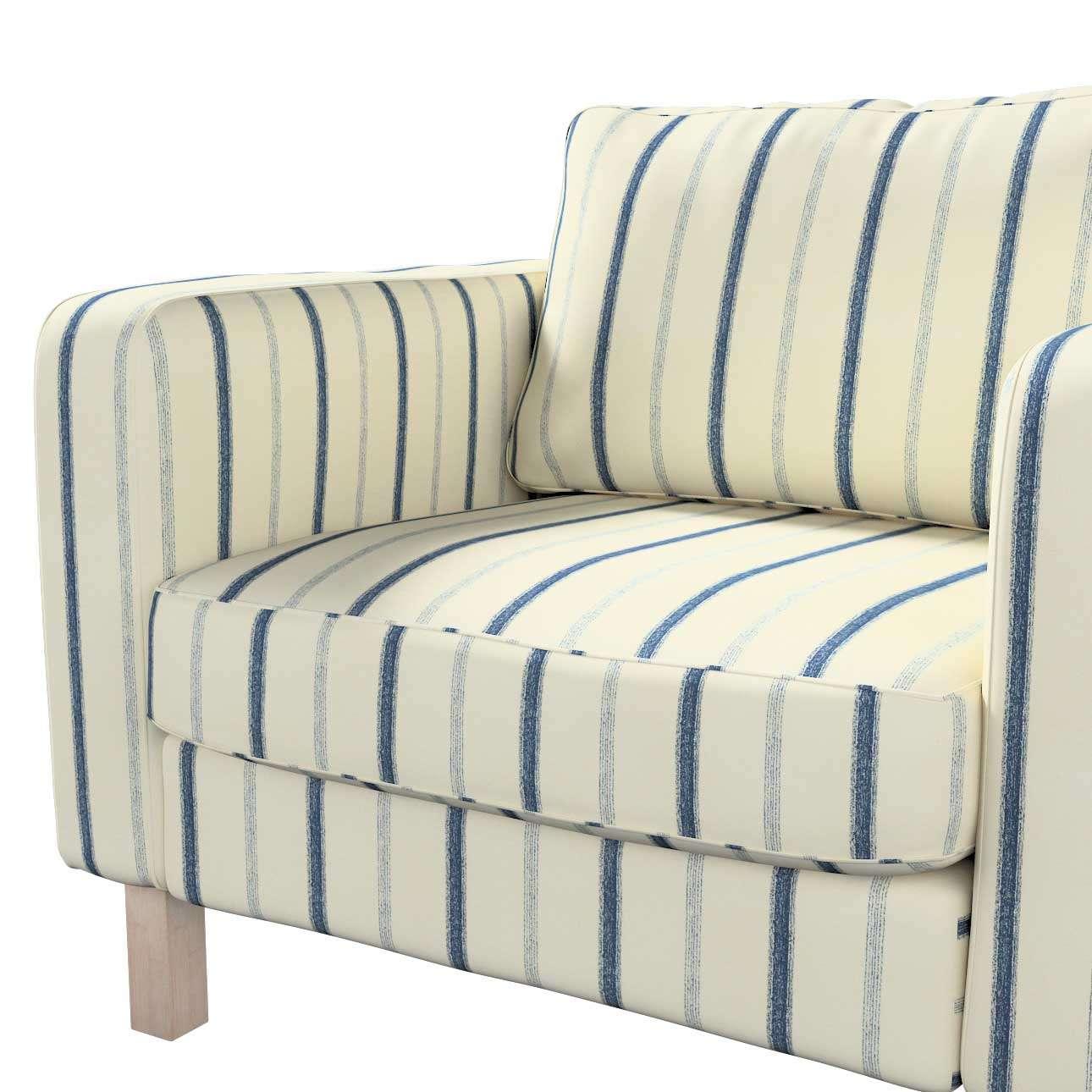 Pokrowiec na fotel Karlstad, krótki w kolekcji Avinon, tkanina: 129-66