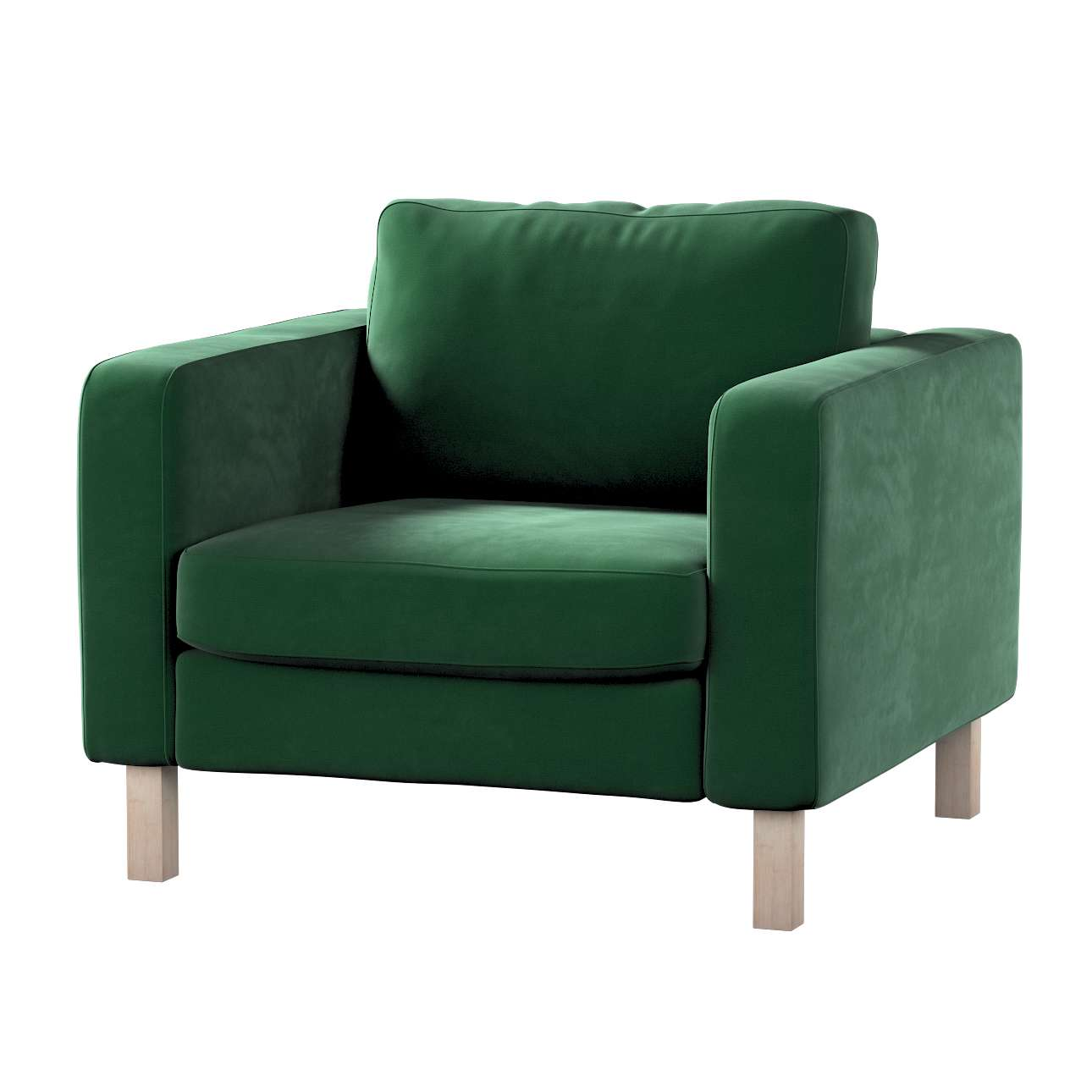 Pokrowiec na fotel Karlstad, krótki w kolekcji Velvet, tkanina: 704-13