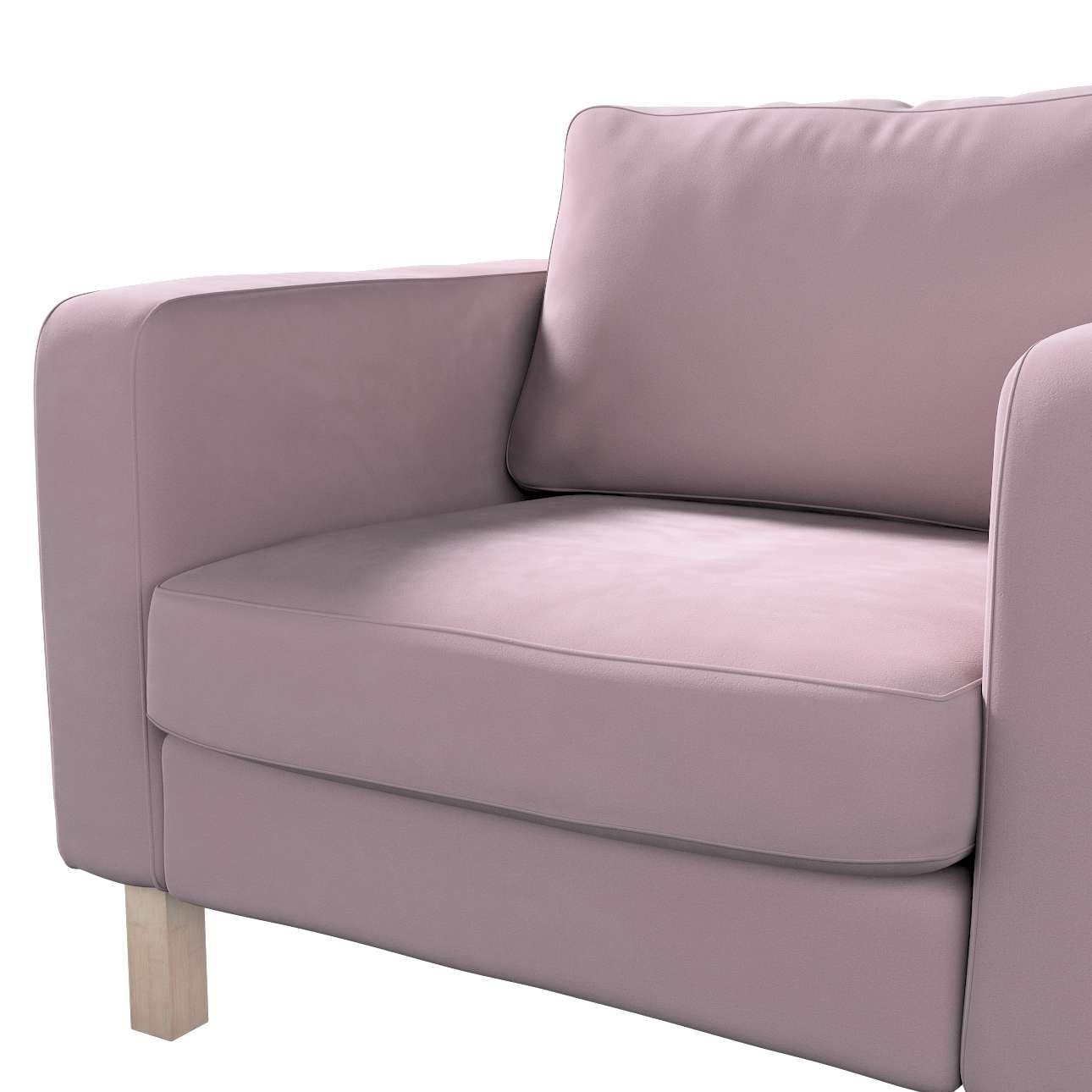 Pokrowiec na fotel Karlstad, krótki w kolekcji Velvet, tkanina: 704-14