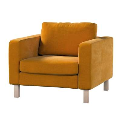 Karlstad fotelio užvalkalas 704-23 medaus sodri Kolekcija Velvetas/Aksomas