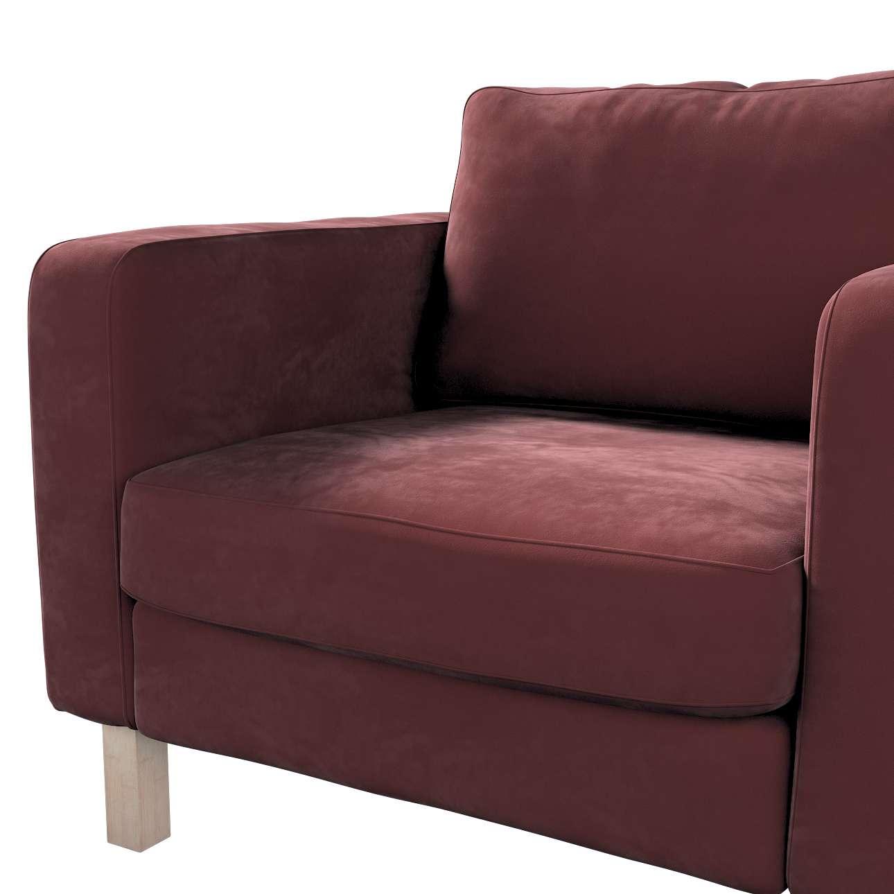 Pokrowiec na fotel Karlstad, krótki w kolekcji Velvet, tkanina: 704-26