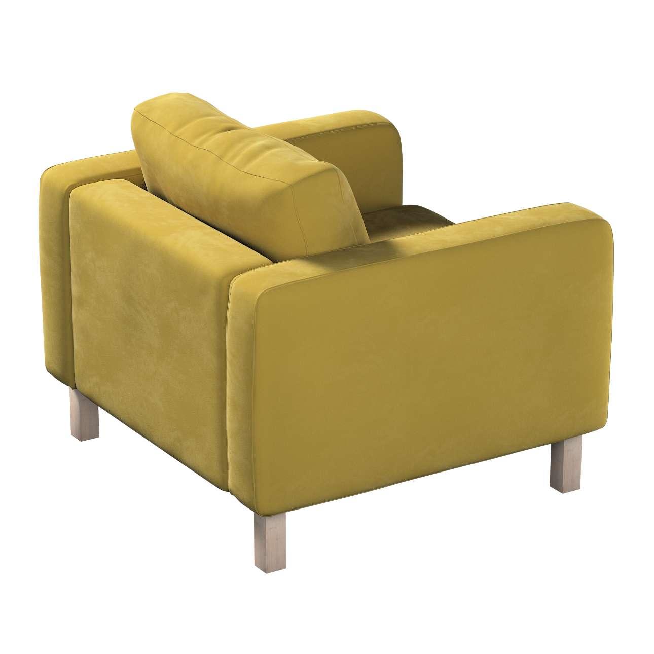 Pokrowiec na fotel Karlstad, krótki w kolekcji Velvet, tkanina: 704-27